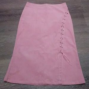 Pink Corduroy Flare-out Pencil Skirt with strings